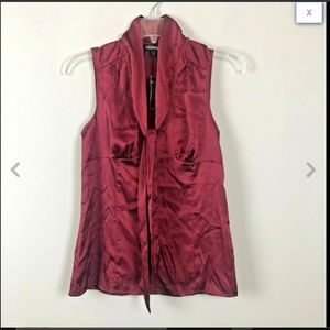 Express Red Satin Sleeveless Pussy Bow Top XS